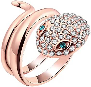 Naivo 18K Rose Gold Plated Pave Snake Wraparound Ring with Emerald CZ Eyes