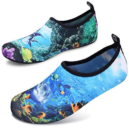 JOINFREE Women's Water Footwear Men's Water Shoes Swim Shoes Water Sports Beach Swim Shoe Barefoot Aqua Footwear Sea World Small (4 Accessories World)