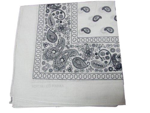 Bandanas by the Dozen (12 units per pack, 100% cotton) [White Paisley] ()