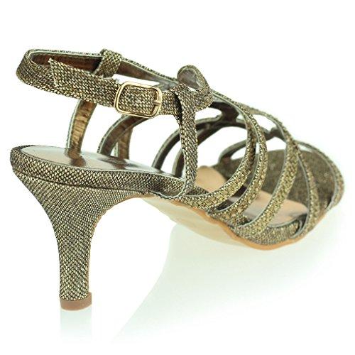 Mujer Señoras Diamante Decorado Enjaulado Correa Tacón Medio Noche Fiesta Boda Prom Nupcial Sandalias Zapatos Talla Marrón
