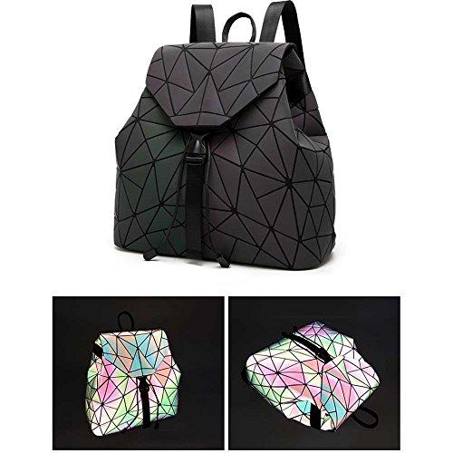 Nero 2 donna Lingge grande Casual Luminoso ragazza Fanshu zaini zainetto Nero Geometrico a borse wqwPtp