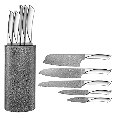 Imperial Collection Stainless Steel Kitchen Cutlery Knife Set with Knife Block and Non-Stick Coating, 6-Piece (Granite Silver)