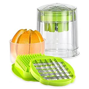 The Test Kitchen Convenien, Durable, Citrus Wedger, French Fry and Vegetable Cutter- Includes Stainless Steel Wedger and Slicing Blade with Pushers