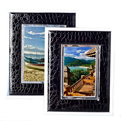Faux Black Crocodile With Chrome Surround Embossed Modern Styled Picture Frame For Table Top Display (5X7inches) ()
