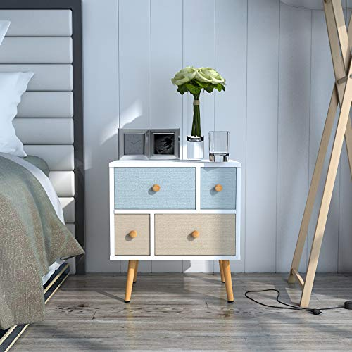 - Lifewit Nightstand with 4 Fabric Drawers, Unique Modern Design Side Table/End Table for Bedroom/Living Room/Apartment, Easy to Assemble, White, 21.7 x 18.90 x 11.8 inches