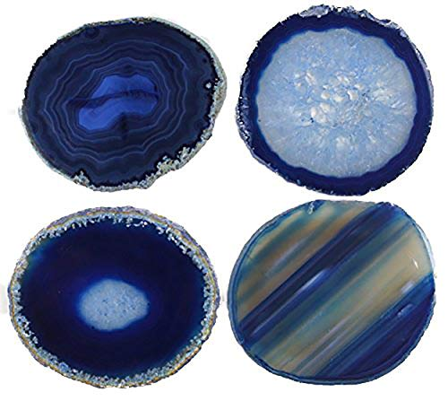 "JIC Gem Natural Sliced Dyed Agate Coaster Blue with Rubber Bumper Set of 4 Polished Beverage Coasters Home Decoration 3-3.5"""