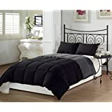 Chezmoi Collection 3-Piece Super Soft Goose Down Alternative Reversible Comforter Set Queen/Full Size, Black