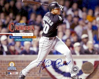 Miguel Cabrera autographed 8x10 Photo (Florida Marlins) Image #1 2003 NLCS Game 7 Home Run (MLB Authentication) - Nlcs Game 1