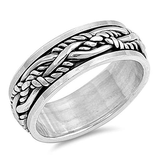 Sterling Silver Oxidize Finish Braided Rope Design Spinner Ring (Size 7 to 13) Size 9