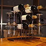 WILLPOWER Wine Rack Countertop, Hold 4 Bottles