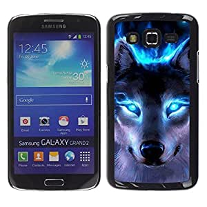 LOVE FOR Samsung Galaxy Grand 2 Wolf Blue Eyes Neon Bright Light Forest Personalized Design Custom DIY Case Cover