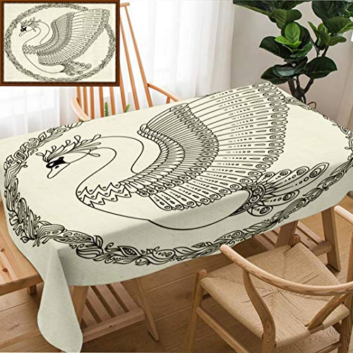 (Unique Custom Design Cotton and Linen Blend Tablecloth Hand Drawing Artistic Swan for Adult Coloring Pages in Doodle Zentangle Tribal Style EthniTablecovers for Rectangle Tables, Small Size 48