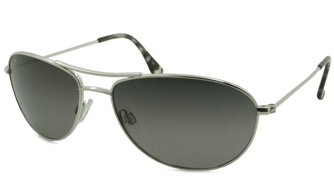 Maui Jim Baby Beach  Aviator Sunglasses, Silver Frame/Neutral Grey Lens, One Size