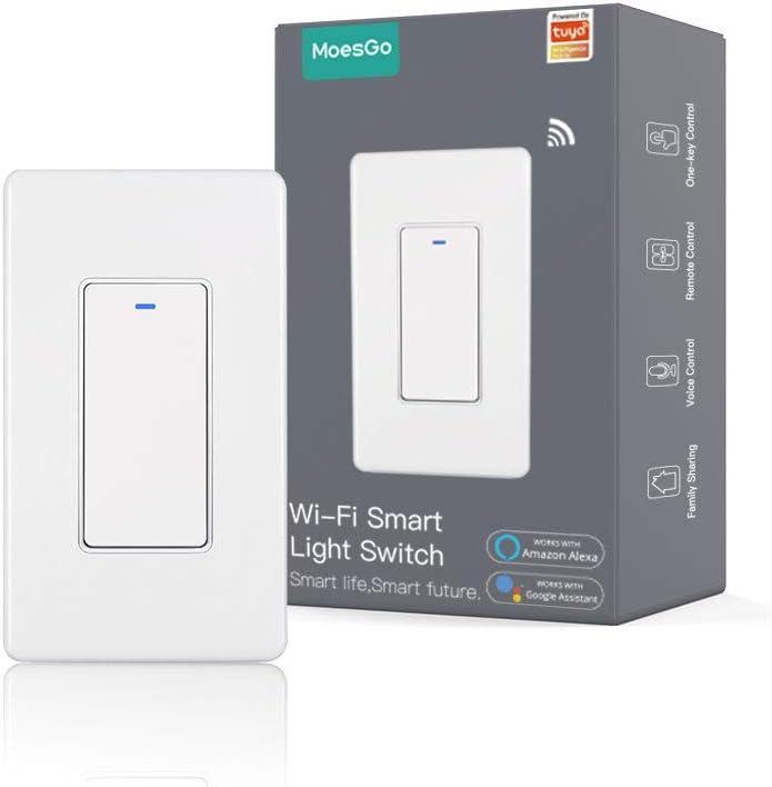 MoesGo WiFi Wall Push Button Smart Light Switch No Screw Panel Smart Life/Tuya Wireless Remote Control Single Pole or Multi-Control Association Voice Control with Alexa,Google Home White 1 Gang