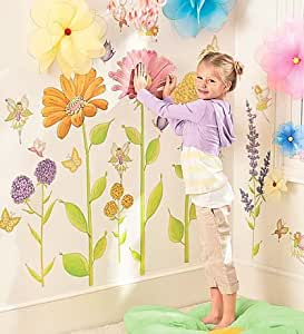 Assorted Fairy Garden Hand Drawn Decorative Wall Stickers, Set of 42