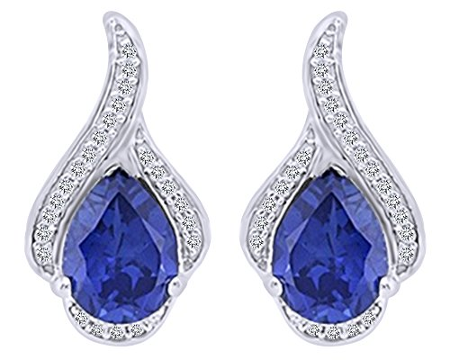 Pear Cut Simulated Blue Sapphire With Natural Diamond Accent Drop Earrings In 10K Solid White Gold