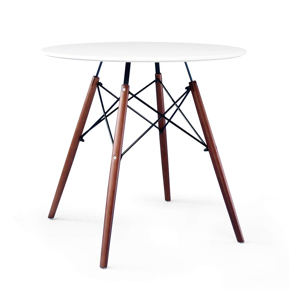 Kingland Kitchen Dining Table Eames Style Round Coffee Table Modern Leisure Wood Tea Table Office Conference Pedestal Desk,Walnut