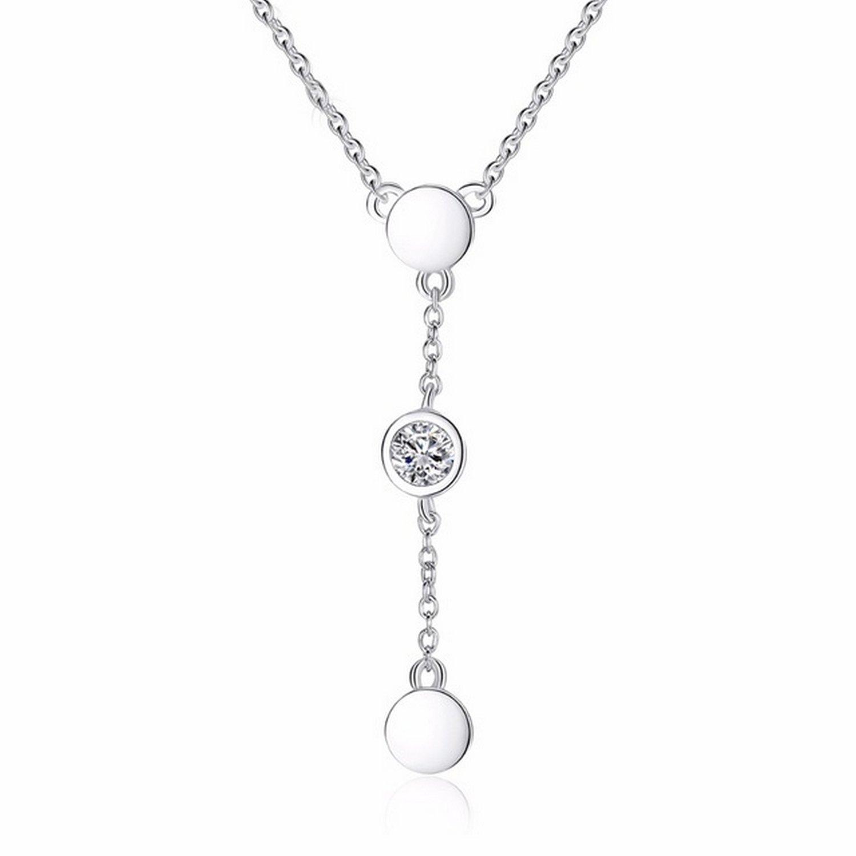 CS-DB Jewelry Silver Tiny Cubic Zircon Chain Charm Pendants Necklaces