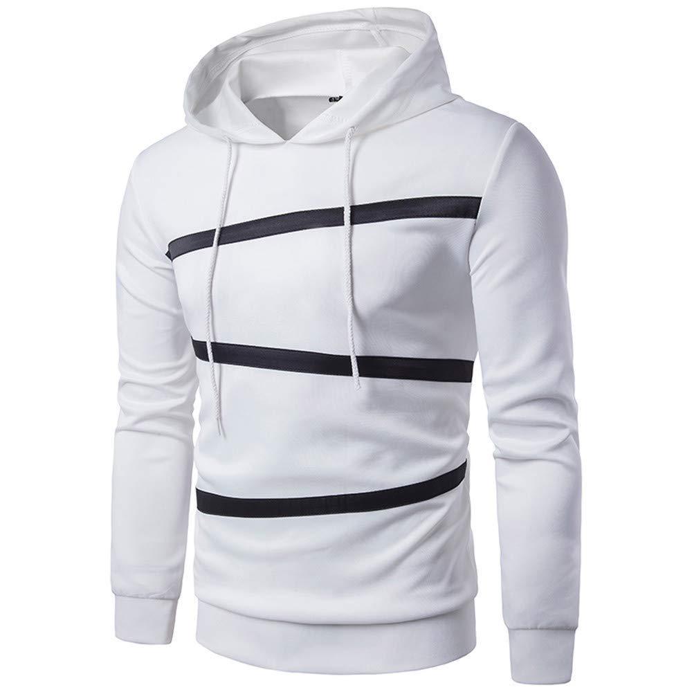 LYLIFE Mens Clothes Mens Fashion Long Sleeve Patchwork Striple Hoodie Sweatshirt