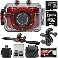 Vivitar DVR783HD HD Waterproof Action Video Camera Camcorder (Red) with Vented Helmet & Handlebar Bike Mounts + 32GB Card + Case + Kit