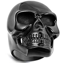 Flongo Men's Gothic Stainless Steel Ring Vintage Black Skull Bone Biker Band