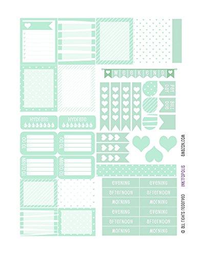 Monthly Planner Stickers Mint Heart Sampler Planner Labels Fits Erin Condren Life Planner