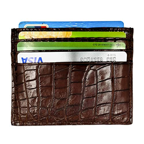 Genuine Alligator Front Pocket Super Slim Minimalist Wallets for Men and Women (3.1 inches x 3.9 inches, Brown)