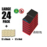 Arrowzoom New 24 Pack of Red & Black (25 X 25 X 3 cm) Convoluted Foam Soundproofing Egg Crate Acoustic Foam Studio Absorbing Tiles Pads Wall Panels (RED&BLACK)