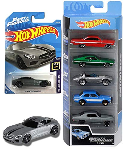 Fate Five Fast & The Furious 5-Pack Cars Bundled with Screen Time Mercedes-AMG / Impala / Ford Gran Torino Sport / Escort / Chevelle SS Die-Cast