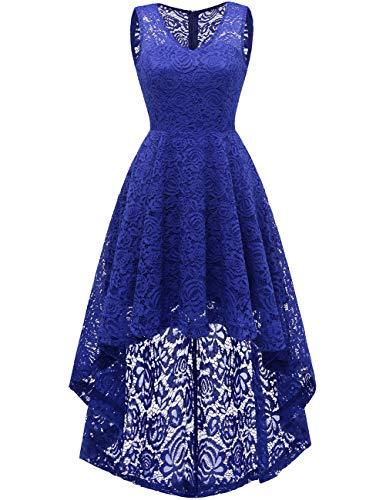 DRESSTELLS Women's Cocktail V-Neck Dress Floral Lace Hi-Lo Formal Swing Party Dress Royal Blue - Pale Lace Blue Dress