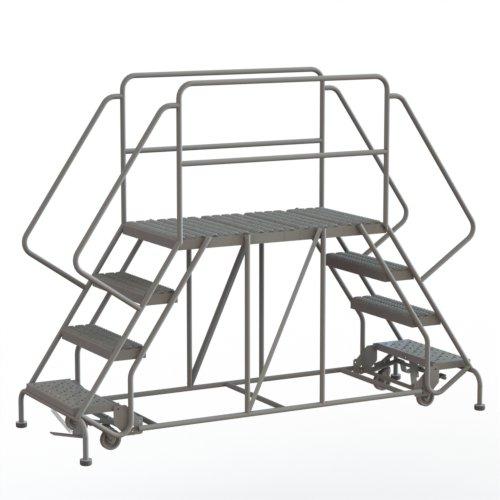 Tri-Arc WLDS142447 4-Step Mobile Double-Sided Steel Work Platform, 24-Inch Wide x 47-Inch Long Platform