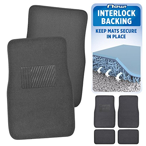 Monogram Car Mats (BDK INTERLOCK Car Floor Mats - Secure No-Slip Technology for Automotive Interiors - 4pc Inter-Locking Carpet (Charcoal))