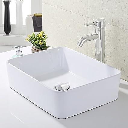 KES Bathroom Rectangular Porcelain Vessel Sink Above Counter White  Countertop Bowl Sink For Lavatory Vanity Cabinet