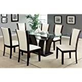 Manhattan Dark Cherry Finish Glass Top 7-Piece Dining Table Set / Ivory White Leatherette