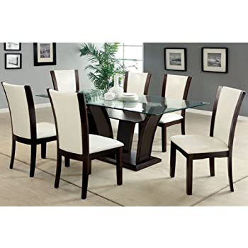 Manhattan Dark Cherry Finish Glass Top 7 Piece Dining Table Set / Ivory  White Leatherette