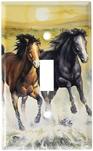 Art Plates - Horses in the Surf Switch Plate - Single Toggle (Switch Horse Covers Plate)