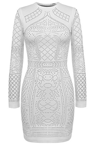 Meaneor Women's Pure White Back Front Diamond Sequined Stretchy Bodycon Dress White XL (Diamond Dresses For Women)