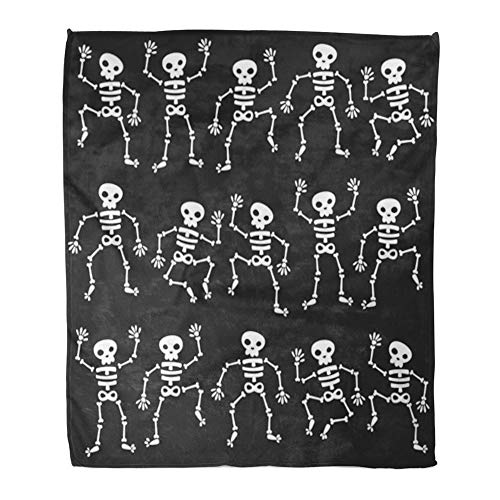 (Emvency Throw Blanket Warm Cozy Print Flannel Cartoon of Dancing Skeletons Black Halloween Skull Comfortable Soft for Bed Sofa and Couch 60x80)
