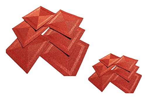 Red Finish Glass Beads Braided Decor Square Tabletop Placemats and Coasters Set of 12 by GARIAN