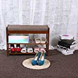 Natural Bamboo Shoe Rack Shoes Cabinet Entryway Shoe Storage Household Shelf Shoe Bench with Cushion,Ideal for Hallway Bathroom(Shipped from USA)
