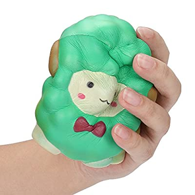 Squishies Toy Jumbo Bow Sheep Slow Rising Cream Scented Anxiety Relief Toys Gifts for Kids Adults (Green): Clothing