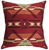 "KensingtonRow Home Collection Throw Pillows - Old Santa Fe Tapestry Pillow - 20"" X 20"" Square - Lodge Decor - Southwest Decor"