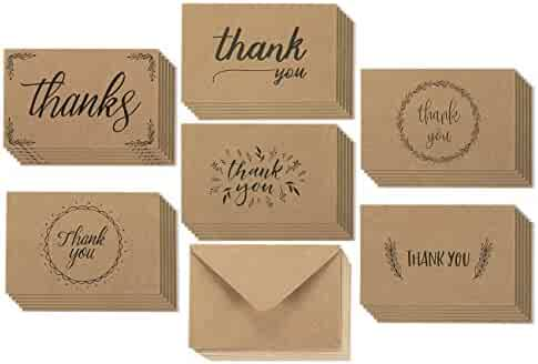 Thank You Cards - 36-Count Thank You Notes, Kraft Paper Bulk Thank You Cards Set - Blank on the Inside, 6 Handwritten Vintage Designs – Includes Thank You Cards and Envelopes, 4 x 6 Inches