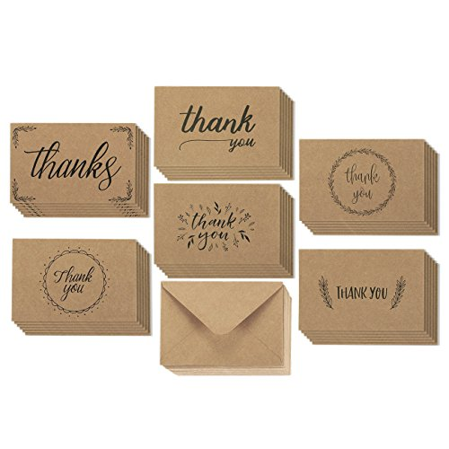 36 Pack Brown Kraft Paper Thank You Greeting Cards and Kraft Paper Envelopes 6 Handwritten Vintage Designs Bulk Box Set (4 x 6 Inches) (Thank You Stationery)