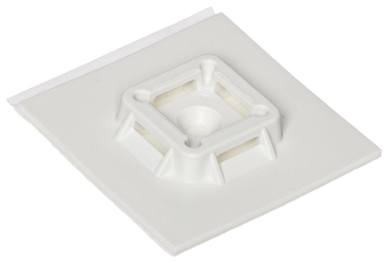 Panduit SGABM50-A-L Super-Grip Adhesive Backed Cable Tie Mount, Indoor Use, Nylon 6.6, White (50-Pack)