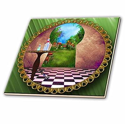 "3dRose ct_128860_4 Through The Keyholes Alice in Wonderland Art Checkered Floor Bottle of Magic Water Ceramic Tile, 12"""