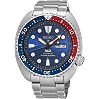 Seiko Prospex Automatic Diver Silvertone Men's Watch with Blue Bezel