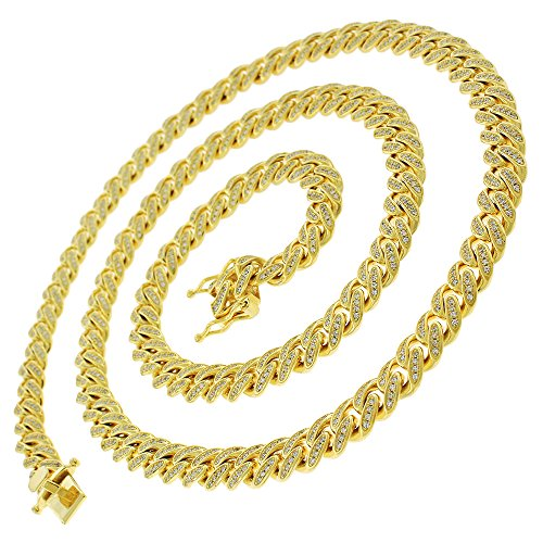 .925 Sterling Silver 8.5mm CZ Iced Out Miami Cuban Curb Link Bling Chain Necklace Yellow Gold Plated (28) by In Style Designz (Image #1)