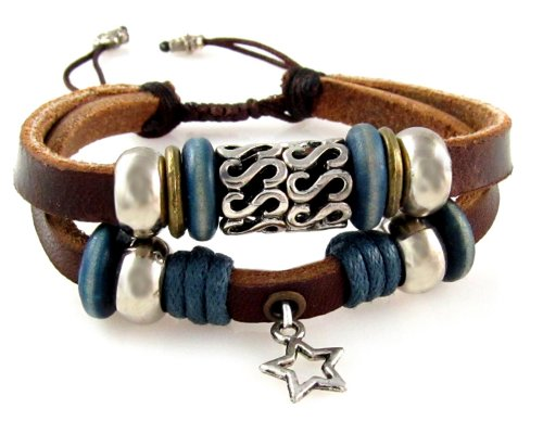 [Lucky Star Double Strand Leather Bracelet, Adjustable 5 to 7 Inches] (Double Strand 7