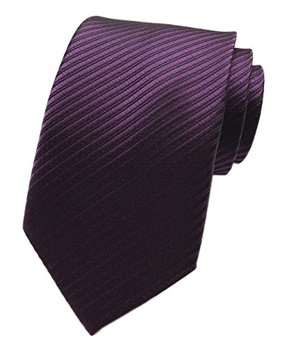Elfeves Mens Dark Purple Woven Tie HANDMADE Luxury Suit Necktie Birthday Present